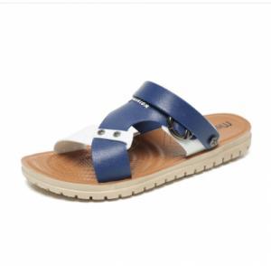 Dép sandal nam Hàn Quốc đế bằng quai hai màu - VKPQ60660053