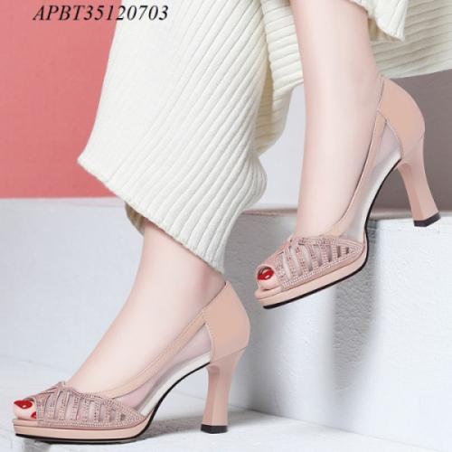 Giày cao gót hở mũi phối lưới - APBT35120703