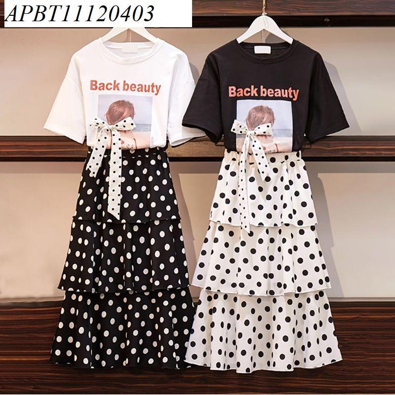 sét chân váy chấm bi áo phông - APBT11120403