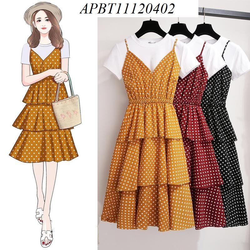 Sét váy chấm bi áo phông - APBT11120402