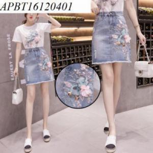 Chân váy bò đính hoa - APBT16120401
